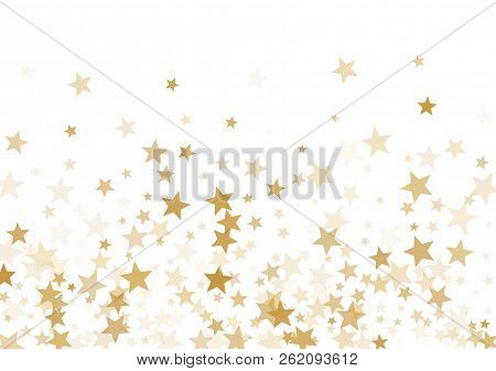 Gold Stars Confetti Falling Holidays Vector Background. Magic Shining Golden Flying Stars Isolated O