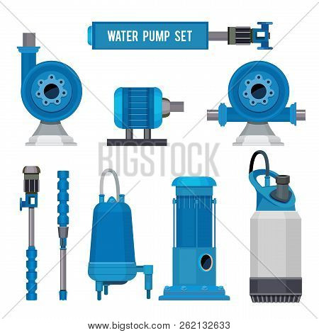 Water pumps. Industrial machinery electronic pump steel systems sewage aqua control station vector icons. Illustration of compressor pump, industrial engine motor stock photo