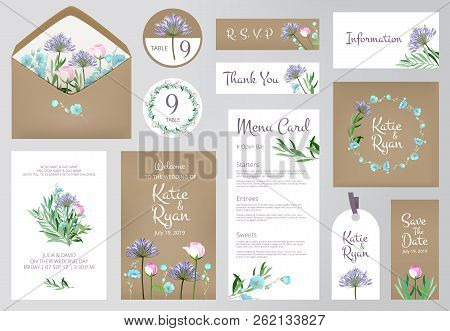 Floral invitation cards. Beautiful wedding love greeting beauty invited vector backgrounds. Floral design invitation wedding, table reserve and menu card illustration stock photo