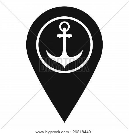 Map pointer with symbol anchor and sea port icon. Simple illustration of map pointer with symbol anchor and sea port icon for web stock photo