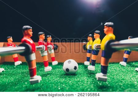 table football soccer kicker game players stock photo
