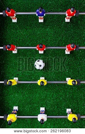 table football soccer kicker game players, top view stock photo