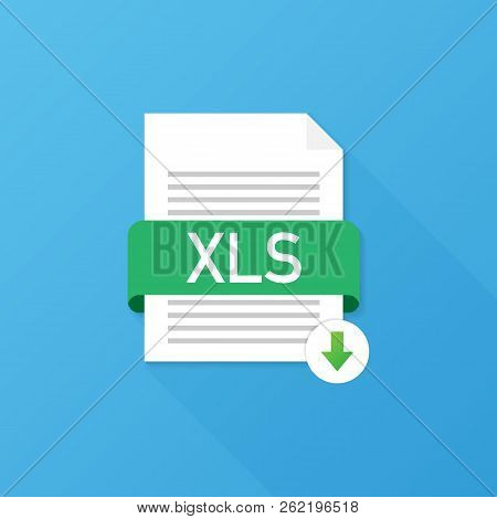 Download XLS button. Downloading document concept. File with XLS label and down arrow sign. Vector stock illustration. stock photo