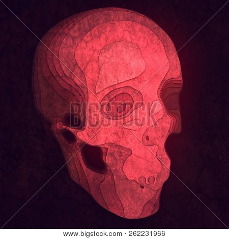 Abstract colored skull. Illustration with paper cut shape. 3d rendering stock photo