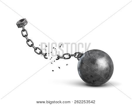 3d rendering of a metal shackle and an iron ball disconnected because of a broken chain. stock photo