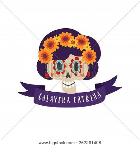 Halloween, Dia de los Muertos greeting card. Mexican Day of the Dead invitation. Decorative ribbon, sugar skull, calavera catrina and marigold flowers. Isolated vector illustration background. stock photo