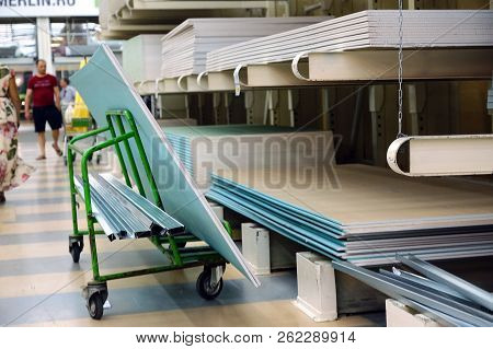 Building Materials Store. Pallet Warehouse Of Building Materials, Logistics Concept, Construction Of