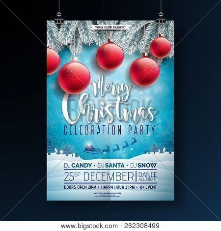 Christmas Party Flyer Illustration With Typography Lettering And Holiday Elements On Winter Landscap
