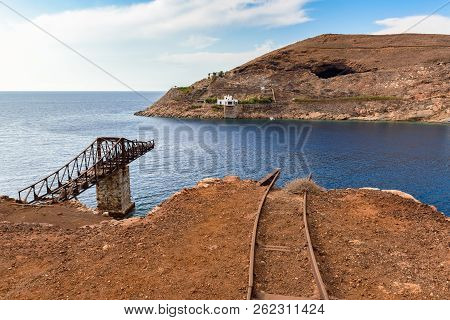 Abandoned Serifos mines in Megalo Livadi, picturesque and unique place. Cyclades islands, Greece stock photo
