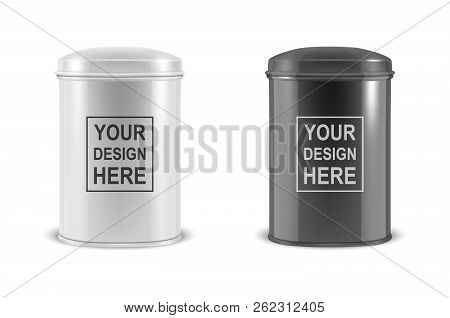 Vector realistic 3d white and black blank metal aluminium tea tin can container with cap oval or circle shape set closeup isolated on white background. Design template for mockup packaging baby powder milk, tea, coffee, cereal and other products. Front vi stock photo
