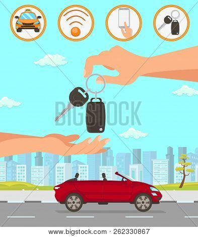 Driver Services in City. Professional in driving Car. Car Driver Service, Red Convertible and Cityscape. Parking Attendant Concept. Hand passes Auto Keys. Vector Flat Cartoon Illustration. stock photo