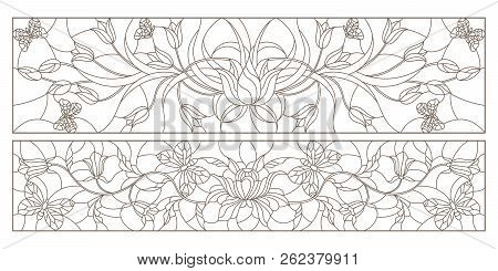 Set of contour illustrations in stained glass style with tulips, bells and butterflies, horizontal images, dark contours on a white background stock photo