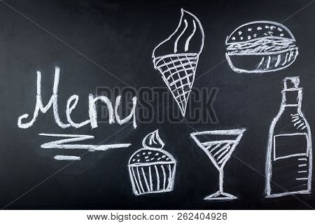 On the drawing Board painted menu for cafes, chalk food on the Board stock photo