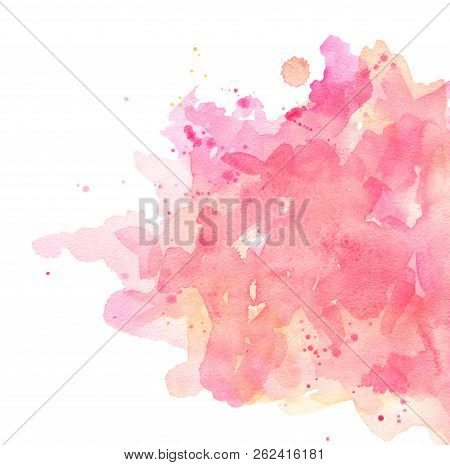Abstract Spots Pink Watercolor On White Background. The Color Splashing In The Paper. It Is A Hand D