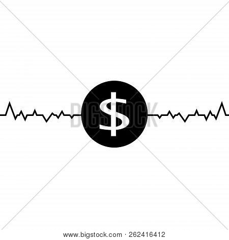 Vector illustration of dollar one line drawing, minimalism art. Fluctuation in the exchange rate of the dollar illustration. stock photo