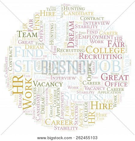 Student Job word cloud. Wordcloud made with text only. stock photo