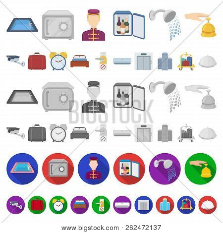Hotel and equipment cartoon icons in set collection for design. Hotel and comfort vector symbol stock web illustration. stock photo
