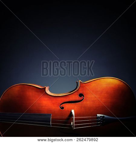 Cello on black background with copy space for classical music album or cd cover stock photo