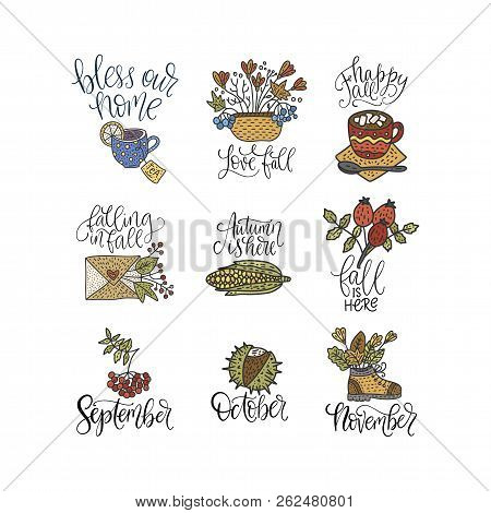 Cozy fall vector lettering set. Hand drawn autumn quotes with hand drawn cartoon doodle clip arts - envelope, leaves, ashberry, dog-rose and others. stock photo