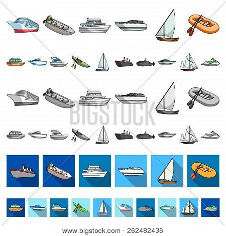 Water and sea transport cartoon icons in set collection for design. A variety of boats and ships vector symbol stock web illustration. stock photo