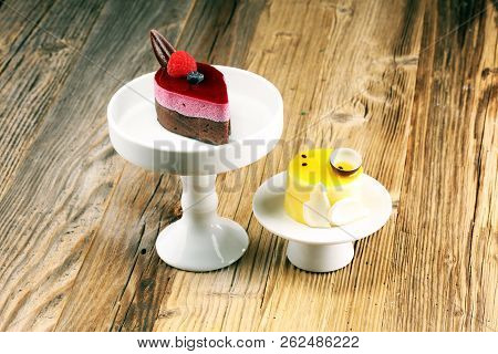 Delicious raspberry cake with fresh raspberries, blueberry and lemon cake.  confiserie cake cuisine stock photo