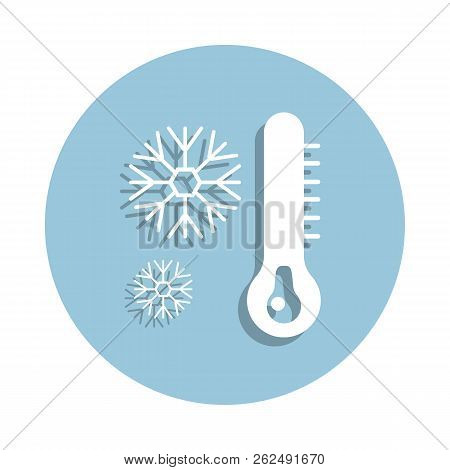 Cold weather thermometer icon in badge style. One of New year collection icon can be used for UI, UX stock photo