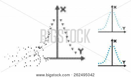 Dotted gauss plot icon in disappearing, dotted halftone and undamaged whole variants. Points are combined into vector dissolving dotted gauss plot pictogram. Disappearing effect uses rectangular dots. stock photo