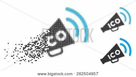 ICO news megaphone icon in dissolving, dotted halftone and undamaged solid versions. Pieces are grouped into vector dissolving ICO news megaphone shape. Disappearing effect uses rectangle dots. stock photo
