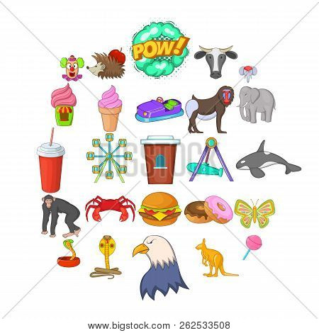 Zoo icons set. Cartoon set of 25 zoo vector icons for web isolated on white background stock photo