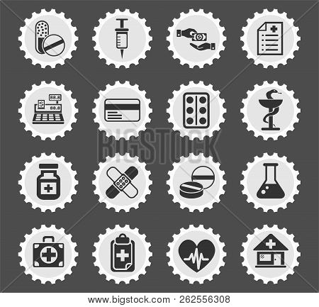 drug store web icons stylized postage stamp for user interface design stock photo