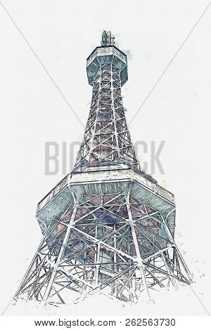 A watercolor sketch or illustration of the tower at Petrin Hill in Prague in Czech Republic stock photo