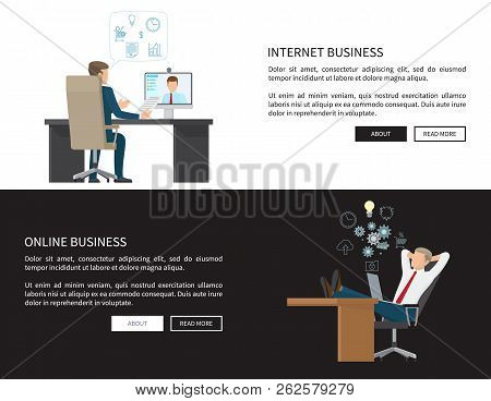 Internet and online business web pages set with text sample, businessman communicating via skype using computer, relaxed employee vector illustration stock photo