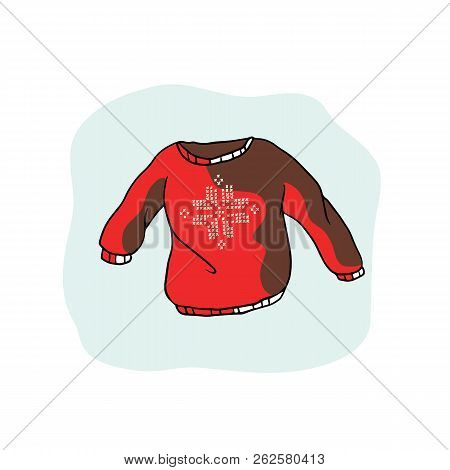 Nordic Christmas Jumper Vector Clipart. Hand Drawn Embroidered Snow Ugly Sweater stock photo