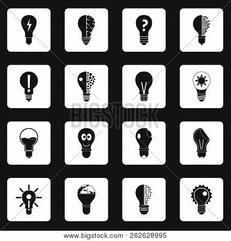 Lamp logo icons set in white squares on black background simple style illustration stock photo