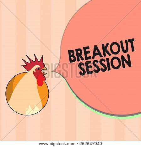 Text sign showing Breakout Session. Conceptual photo workshop discussion or presentation on specific topic stock photo