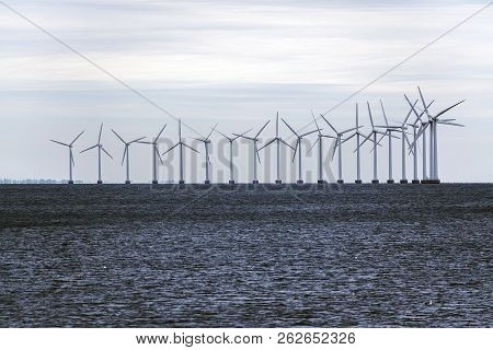offshore wind farm in the Baltic Sea, concept for environmental protection and renewable energy, copy space stock photo