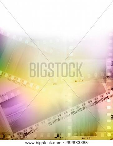 Colorful film negative frames background stock photo
