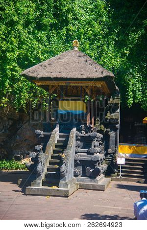 Goa Lawah Temple in Bali, Indonesia. Bali is an Indonesian island and known as a tourist destination. Majority of people in Bali believe in the Hindu religion. stock photo