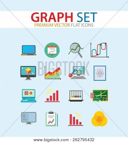 Graph Icon Set. Magnifier And Graph Growing Bar Chart Declining Bar Chart Venn Diagram Clipboard Flipchart With Graph Smart Board Histogram Line Graph Computer With Histogram Projection Screen Chart stock photo