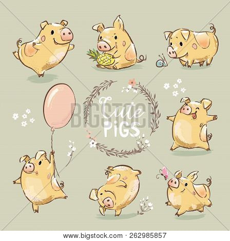 Set of Cute Tiny Yellow Pig in different poses. Dancing piggy, pig with the balloon. New Year Symbol of Chinese calendar. The year of the pig. stock photo