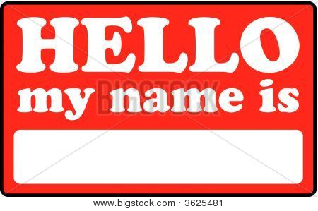 Blank name tag that says HELLO MY NAME IS. stock photo