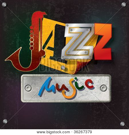 Abstract grunge background with texte musique jazz