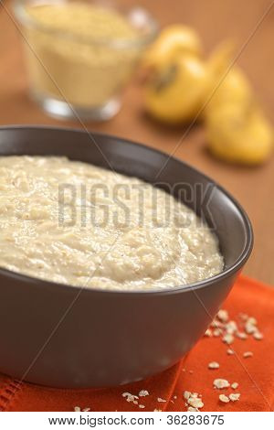 Bowl of cooked oatmeal porridge mixed with powdered maca or Peruvian ginseng (lat. Lepidium meyenii) with maca roots and maca powder in the back (Selective Focus Focus in the middle of the oatmeal porridge) stock photo