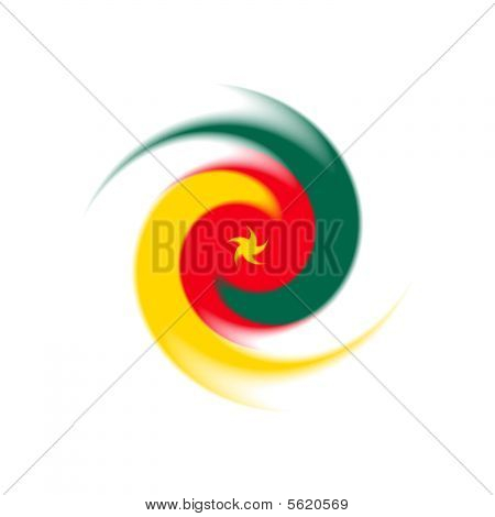 National flag of Cameroon with a twist stock photo