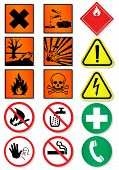 Vector set of diverse lab related signs. All vector questions and points of interest are confined/gr