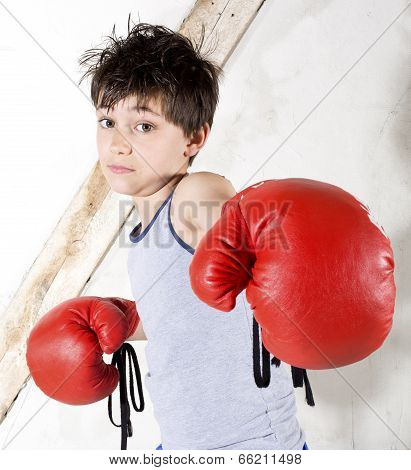 a young boy with red boxing gloves stock photo