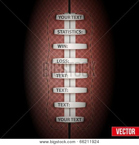 Dark Background of American Football sports. Theme of list and schedule of players and statistics. Realistic Vector Illustration. stock photo