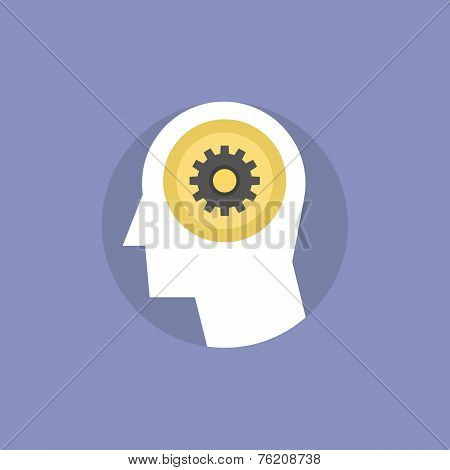 Thinking process of human brain brainstorming for creative innovative ideas finding solution and solving problem. Flat icon modern design style vector illustration concept. stock photo