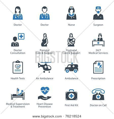 This set contains Medical & Health Care Icons that can be used for designing and developing websites, as well as printed materials and presentations. stock photo