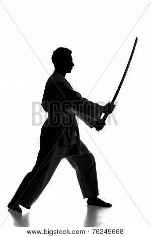 Silhouette of martial arts man is standing with a sword isolated on the white background. stock photo